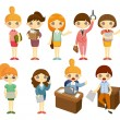 Cartoon pretty office woman worker icon set — Stock Vector