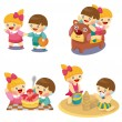 Cartoon kids playing set — Stock Vector