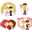 Cartoon wedding set — Stockvektor