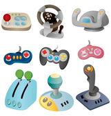 Tecknad film spel joystick ikonuppsättning — Stockvektor
