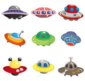 Cartoon ufo spaceship icon set — Stock Vector
