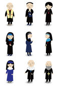 Cartoon Priest and nun icon set — Stock Vector