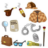Cartoon detective equipment icon set — Stok Vektör