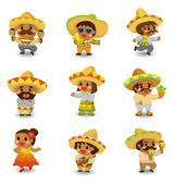 Cartoon Mexican icon set — Stock Vector