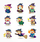 Cartoon Wizard and Witch icon set — Stock Vector