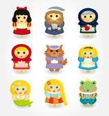 Conjunto de iconos de historia de la historieta — Vector de stock