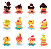 Cartoon cup cake icon set — Stock Vector