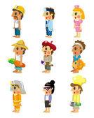 Cartoon job icons set — Stock Vector