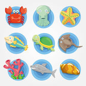 Cartoon aquarium dierlijke pictogrammen set, vis iconen — Stockvector