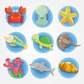Cartoon Aquarium animal icons set ,fish icons — Stock Vector
