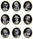 Cartoon mafia icon set,label button — Stock Vector