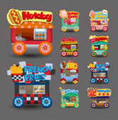 Cartoon market store car icon collection — Stok Vektör