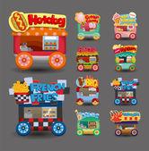 Cartoon markt winkel auto icoon collectie — Stockvector
