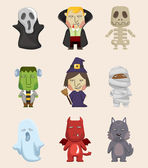 Cartoon Halloween monster icons — Stock Vector