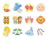 Set of isolated cute zodiac symbols — Stock Vector