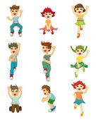 Cartoon child jump icons — Stock Vector