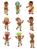 Cartoon Africa Indigenous icons — Stock Vector