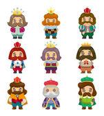 Cartoon koning icons set — Stockvector