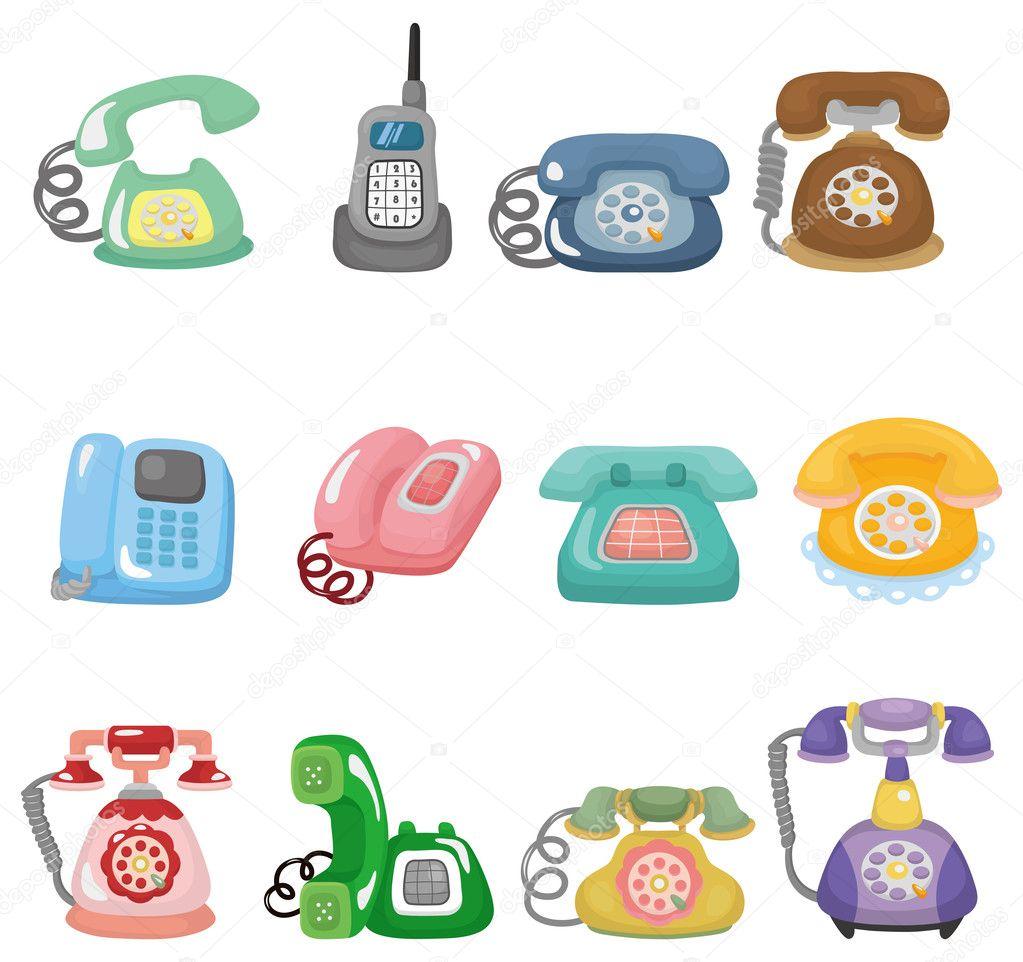 Funny retro cartoon phone icon set stock vector - Electrodomesticos retro ...