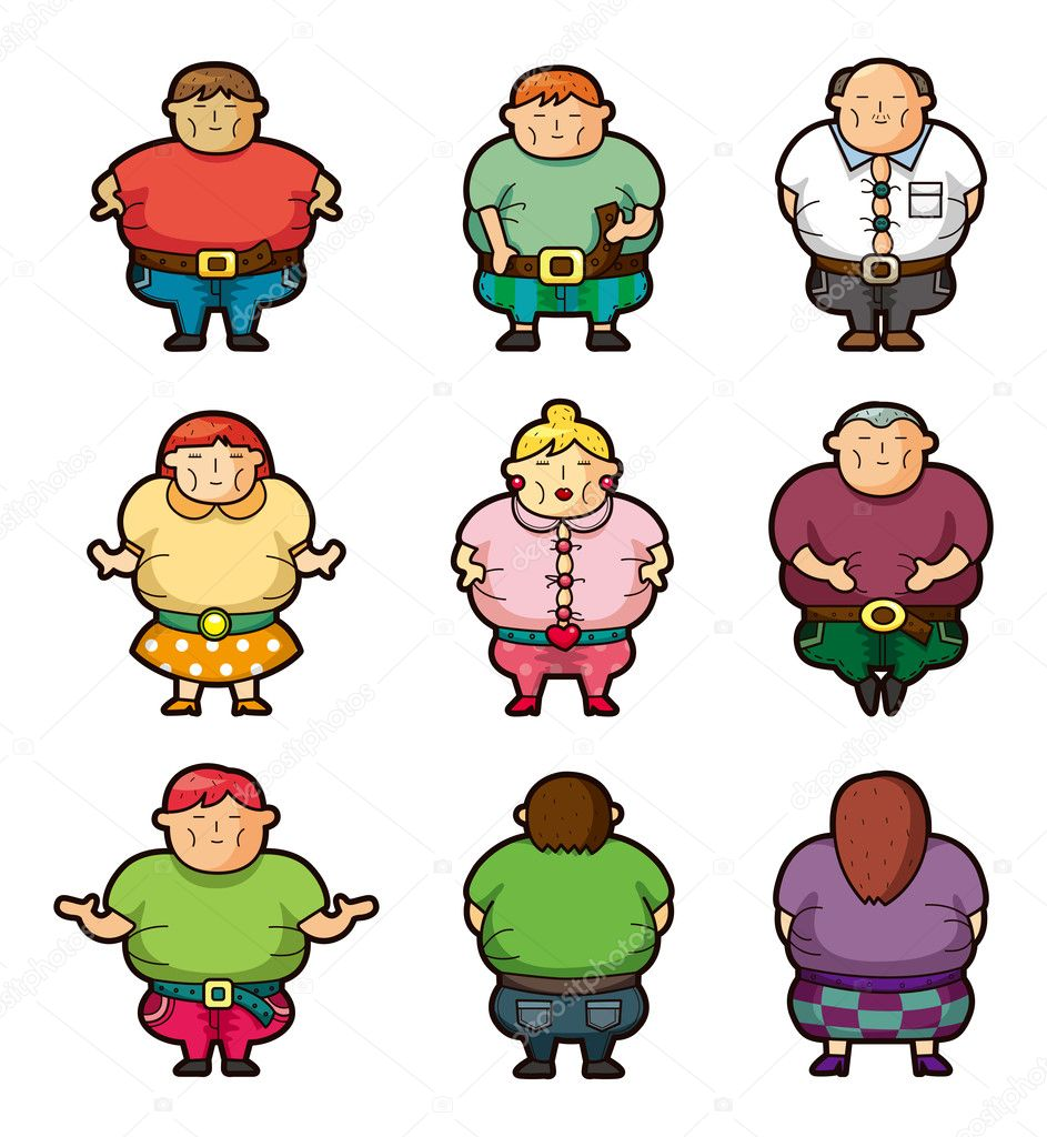 Cartoon Fat icons — Stock Vector #8307425
