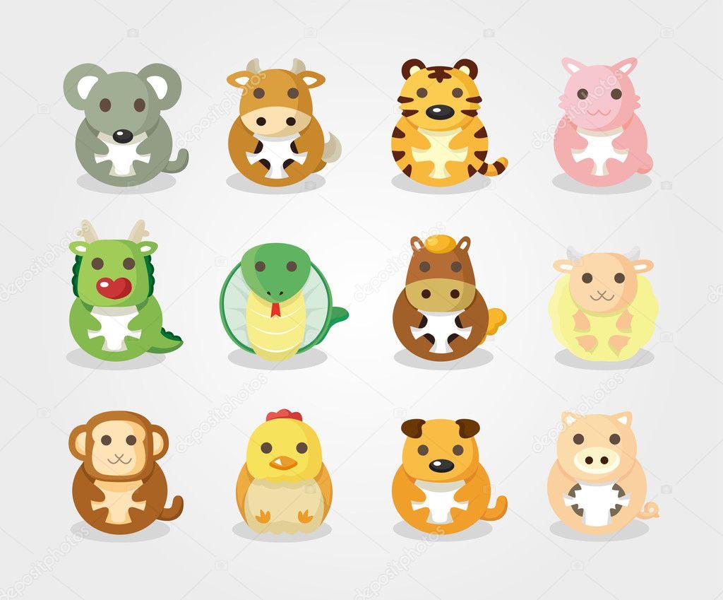 12 animal icon set,Chinese Zodiac animal , — Stock Vector ...