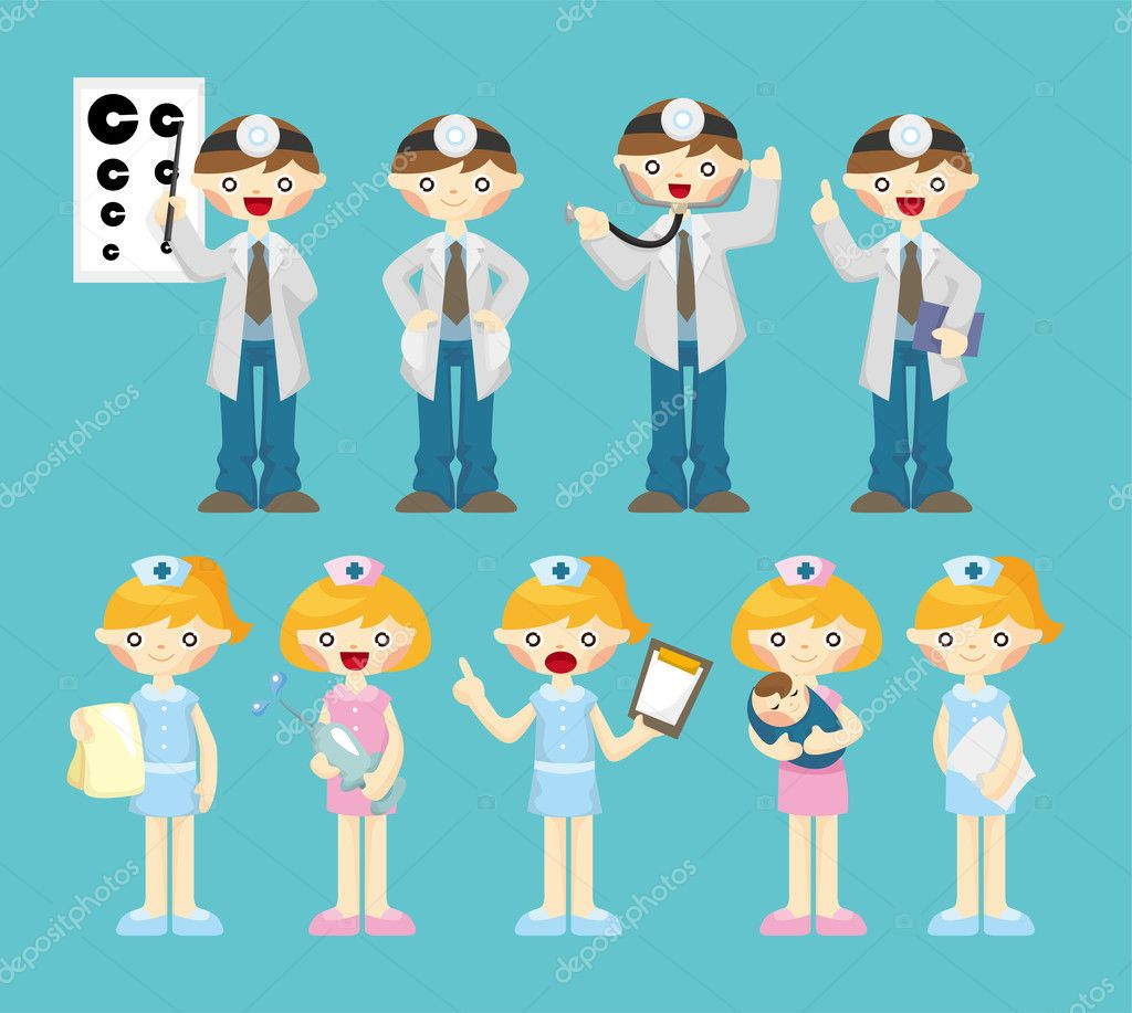 Cartoon doctor and nurse icon — Stock Vector #8307500