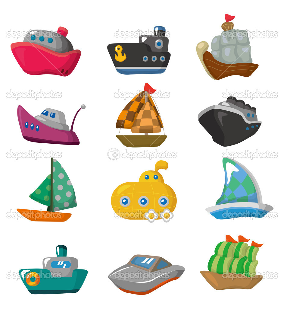 Boat Cartoon Pictures Cartoon Boat Icon Vector by