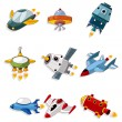 Cartoon spaceship icon set - Stock Vector