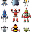Cartoon robot icon set - Stock Vector