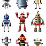 Cartoon robot icon set — Stock Vector #8317068