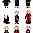 Cartoon Priest and nun icon set - Stock Vector