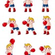Cartoon boxer icon set - Stock Vector