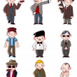 Cartoon mafia icon set - Stock Vector