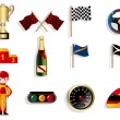 Cartoon f1 car racing icon set — 图库矢量图片