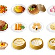 Cartoon chinese food icon set — Stockvektor