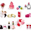 Stok Vektör: Cartoon wedding icon set