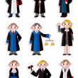 Cartoon Judge icon set - Stock Vector