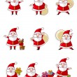 Cartoon santa claus icon set — Stock Vector #8317093