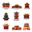 Cartoon Chinese house icon set — Stock Vector #8317744