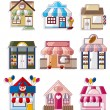 Cartoon house shop icons collection - Stok Vektör