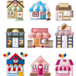 Cartoon house shop icons collection — Stock Vector