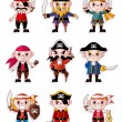 Cartoon pirate icon set — Stock Vector #8317915