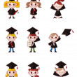 Cartoon Graduate students icons set — Stock Vector #8318006