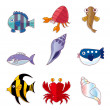 Cartoon fish icons — Vector de stock