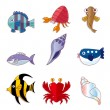 Cartoon fish icons — Stock vektor