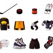 Vector ice hockey icon set - Stock Vector