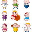 Cartoon Fat icons — Stock Vector