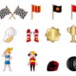 Cartoon f1 car racing icon set — Stockvector #8318056