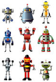 Cartoon robot icon set — Stok Vektör