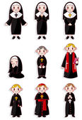 Cartoon Priest and nun icon set — Wektor stockowy